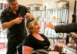 Brian Rice creating a gorgeous bridal upstyle.